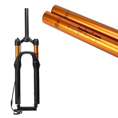 VTDOUQ Horquilla de suspensión para Bicicleta MTB 26 27.5 Pulgadas Tubo Recto 1-1/8'Ajuste de la amortiguación de la cámara de Aire Doble QR 9 mm Recorrido 100 mm Cierre de Corona 1780 g