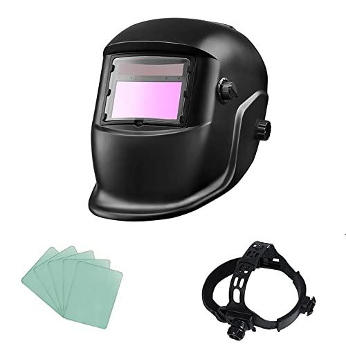 ACELEY Casco para soldar, Máscara de Seguridad Ojos automáticos, Máscara Solar Solar fotoeléctrica automática con protección UV para Trabajos de Soldadura