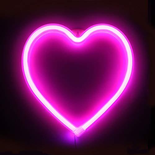 XIYUNTE Heart luz de neón Señales luminosas LED Corazón señales de neón Iluminación de ambiente rosado Corazón Iluminación de interior decoración para, bar, reunirse, navideña