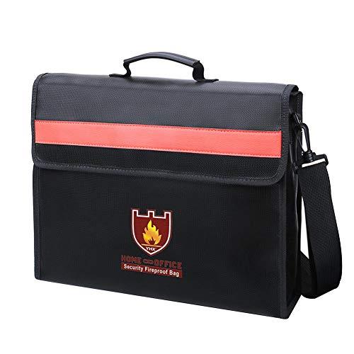 Opbergtas voor het huishouden, vuurvast, voor documenten, vuurvast, schoudertas, voor belangrijke opslag van bestanden, iPad, contracten, rekeningen, paspoort en waardevolle spullen.