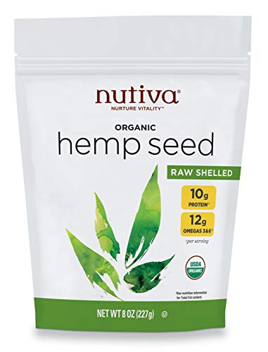 Nutiva Organic Raw Shelled Hemp Seed, USDA, Non-GMO, Non-BPA, Whole 30 Approved, Vegan, Gluten-Free & Keto, 10g Protein and 12g Omegas per Serving for Salads, Smoothies & More, Nutty flavor, 8 Ounce