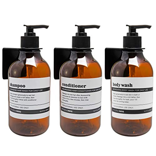 MaisoNovo Wall Mount Soap Dispenser for Bathroom Shower and Kitchen - No-drill Triple Soap Dispenser with Waterproof Labels - 3 Bottles 3 Wall Mounts