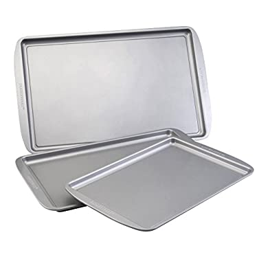Farberware Nonstick Bakeware 3-Piece Cookie Pan Set, Gray
