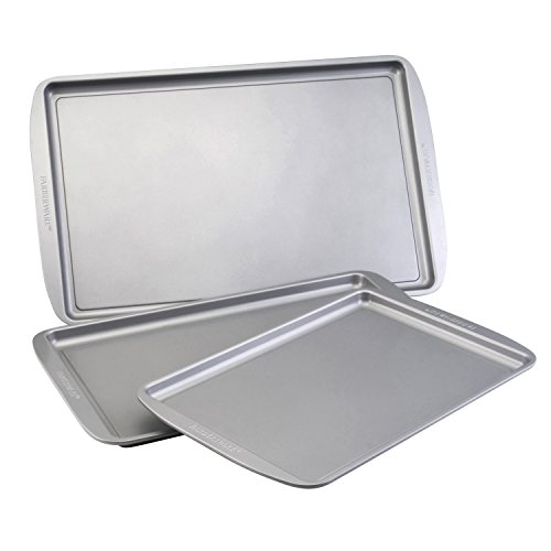 Farberware Bakeware Set Nonstick Cookie Baking Sheets, 3 Piece, Gray