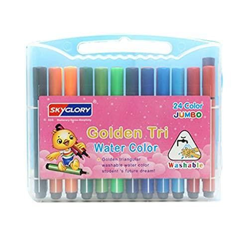 BOBEINI 12/18/24/36 marcadores de Colores bolígrafo Marcador de Dibujo a Base de Agua con Caja Transparente para Libros de Colorear Escuela de caligrafía cómica # 24 Colores