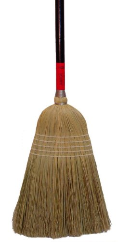 """Zephyr 38031 Natural Fiber Janitor Broom, 58"""" Overall Length, Size 30, Red and Black (Case of 6)"""