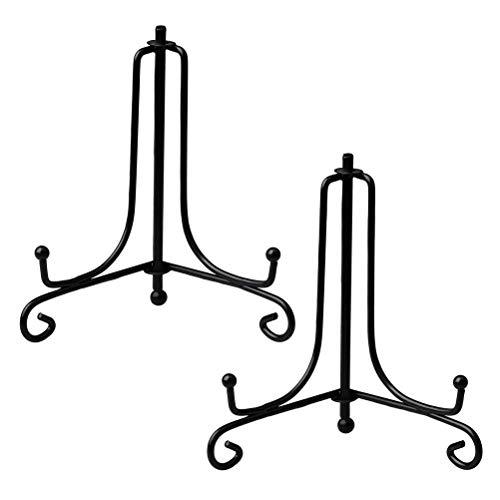 Deolven Eisen Tellerständer,2 Pack 6 Zoll Schwarz Metall Tellerständer Eisen Staffelei Display Ständer Tellerhalter Aufsteller für Schüssel Teller für Heimtextilien