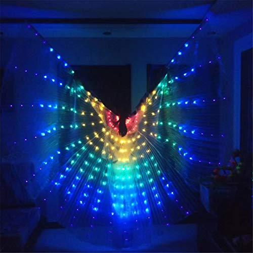 XIALEY Alas De Danza del Vientre LED para Mujer con Bolsa De Almacenamiento Porttil Escenario De Carnaval Disfraz De Navidad De Halloween Alas De ngel Alas De ISIS Ropa De Danza del Vientre
