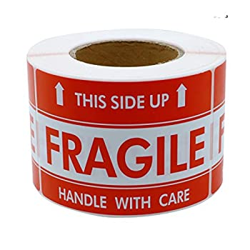 Hybsk 3x5 inch Handle with Care This Side Up Fragile Stickers Adhesive Label 100 Per Roll  3x5 inch