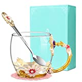 Flower Tea Cup, Wisolt Lead-Free Handmade Glass Enamel Mugs with Delicate Spoon and Gift Box, Perfect Gift for Wife, Mum, Girl, Teacher on Birthday, Valentine's Day, Mother's Day, Wedding Anniversary