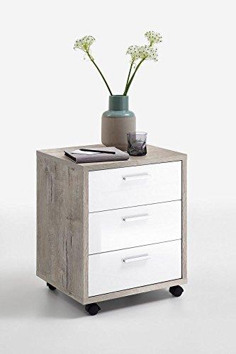 """Rollcontainer \""""Aksha\"""" Sandeiche Hochglanz Dekor mit 3 Schubkästen u 4 Rollen Bürocontainer Schreibtischschrank schreibtisch container unterschrank schubladenschrank schubladencontainer Büromöbel Büro"""