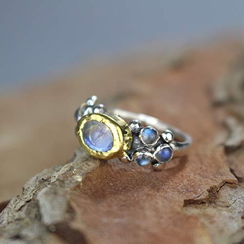 February and March Birthstone Ring Handmade Black Rainbow MoonStone Silver Ring Solid 925 Silver Ring Labradorite Ring Gemstone Ring