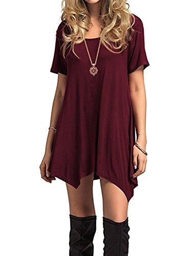 Azue Damen Sommerkleider Kurzarm Kleider Casual T-shirt kleid Loose Fit für Alltag Weinrot K EU 42 (Herstellergröße L)