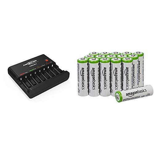 ANSMANN Batterieladegerät Powerline 8 - Universal Ladegerät, 8-Fach Multi Akkuladegerät zum Laden & Entladen & AmazonBasics Vorgeladene NI-MH AA-Akkus - Akkubatterien, 2000 mAh, 16 Stck
