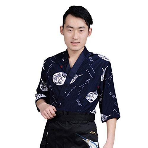 MJL Chef Kimono Japonais Vintage Veste Cuisine Vêtements Cuisinier Demi-Manches Uniforme Restaurant Hôtel Bar à Sushis Boulangerie Col en V Imprimé Bleu Foncé S