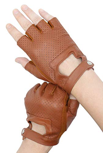 Leather Driving Fingerless Gloves | Soft Lambskin Leather Half Finger Gloves | For Motorcycle Cycling Riding (Brown, M)