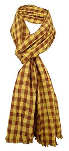 TigerTie gecrashter sjaal in geel oker bruin geruit met kleine franjes - maat 180 x 50 cm.