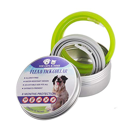 Collar Antiparasitos Perros, 2PCS Prevención de pulgas y garrapatas para perros, Gatos antipulgas de un tamaño a prueba de agua, Fórmula natural ajustable Collares de control de plagas de mascotas