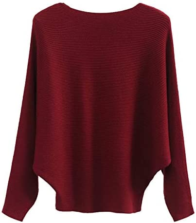 GABERLY Boat Neck Batwing Sleeves Dolman Knitted Sweaters and Pullovers Tops for Women Burgundy product image