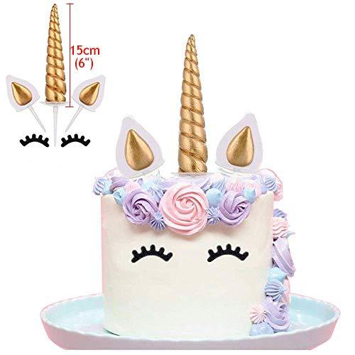 Olywee Lot de 6 décorations de gâteau en forme de licorne dorées faites à la main - Pour gâteaux d'anniversaire, fête de mariage (15 cm)