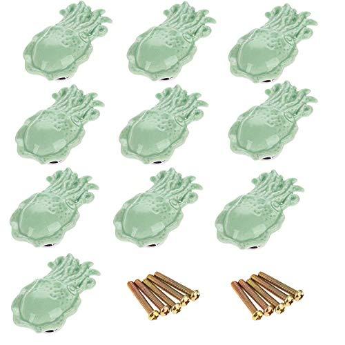 FBSHOP(TM) 10 Stück Grün Lovely Octopus Shape -Mediterraner Stil Dekor- Keramik-Türknauf Türknopf Möbelgriffe für Schränke, Schubladen, Truhen, Schränke, Küche, Schlafzimmer, Badezimmer Möbel
