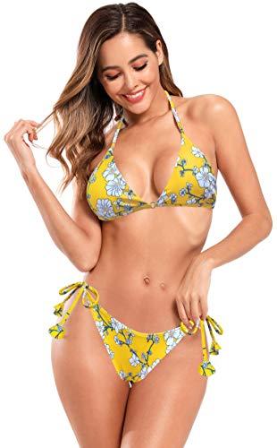 SHEKINI Damen Brasilianer Triangle Bikini Set Tiefer V Ausschnitt Bikini Oberteil Seiten Binden Low Waist Hose Crossover Zurück Bademode Leopard Gepolstert Strandbikini (L, Gelb)