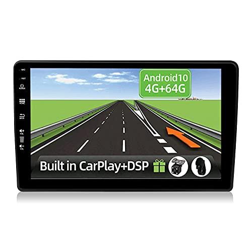 YUNTX Android 10 2 Din Autoradio adatto per Audi A4 (B6/B7) Seat Exeo-4G+64G-[Integrato CarPlay/Android auto/DSP]-Gratuiti LED Camera-Supporto DAB/Controllo del Volante/360 Camera/MirrorLink/Bluetooth