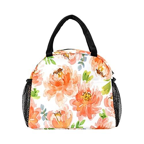 Bolsa de almuerzo de flores de crisantemo de acuarela para mujer, con aislamiento personalizado, reutilizable, bolsa térmica para el trabajo, picnic