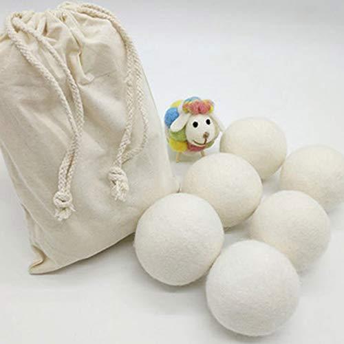 belupai 6 Bolas de Secado de Lana hipoalergénica Premium – Hechas a Mano, naturalmente suaviza – reducción estática, suavizante de Tela Natural Bolas y secador de Ropa Bolas no Arrugas