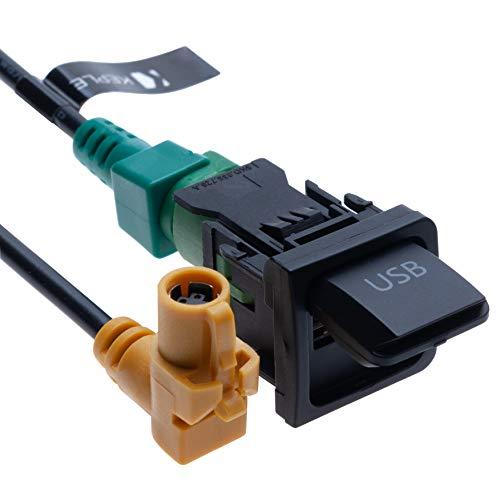 USB Schalter und Anschlusskabelbaum RCD510 RNS315 Kompatibel mit VW Volkswagen Bora Passat Polo Jetta MK5 F R7X9 Rabbit Golf MK6 Sagitar Scirocco Touran Tiguan | 4-poliges Kabel für Autoradio | 1m