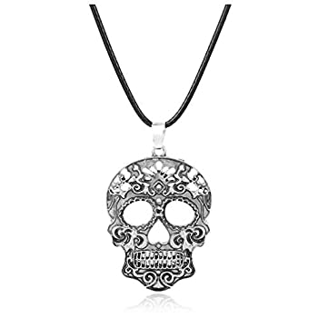 Tebapi Womens Pendant Necklace Fashion Classic Mexican Sugar Skull Necklace Day of The Dead Skeleton Pendant Necklace Men s Charm Jewelry Gifts Silver