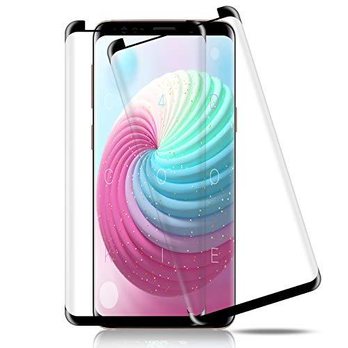 Whew Panzerglas kompatibel Samsung Galaxy S9, [3D Volle Bedeckung] [Anti-Kratzer] [Blasenfreie] Schutzfolie [9H Härte] [HD Klar] Panzerglasfolie Displayschutzfolie für Samsung Galaxy S9 [2 Stück]