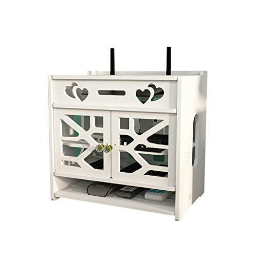 IPOUJ Enrutador WiFi Caja de Almacenamiento Punch-Free Set-Top Storage Shelf Almacenamiento de Alambre de Pared Almacenamiento de alambres