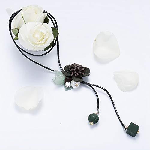 wuxu713 - Collares Largos de Flores de Tela Coreana para Mujer, Colgantes y Collares de Piel sintética