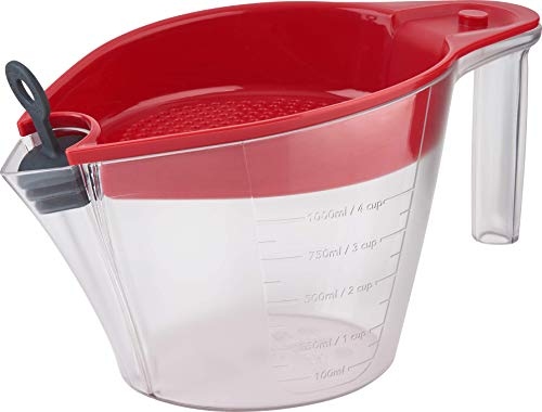 Trudeau 4 Cup Gravy Fat Separator 4cup Red and clear