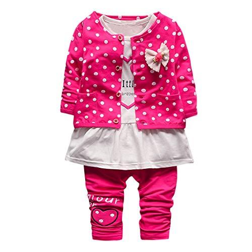 WEXCV Baby Mädchen Bekleidungsset 3 Stück Langarm Frühling Herbst Blume Jacke Blusen + Nähen Top + Lang Hosen Kleidung Set Freizeit Kleidung 0-24 Monate