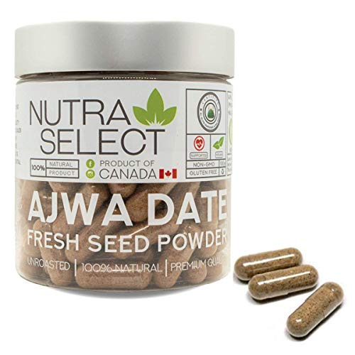 Fresh Ajwa Date Seed Powder – 120 Capsules/Unroasted – All Natural Nutrition Powder – (Vegan/Non-GMO/Gluten Free) New Packaging May Look Different with snap on Cap for More Convenience & Freshness