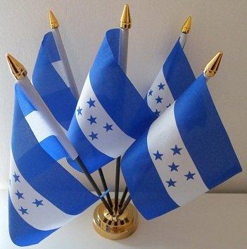 Honduras Hondurien 5 Drapeau de bureau Affichage avec base dorée