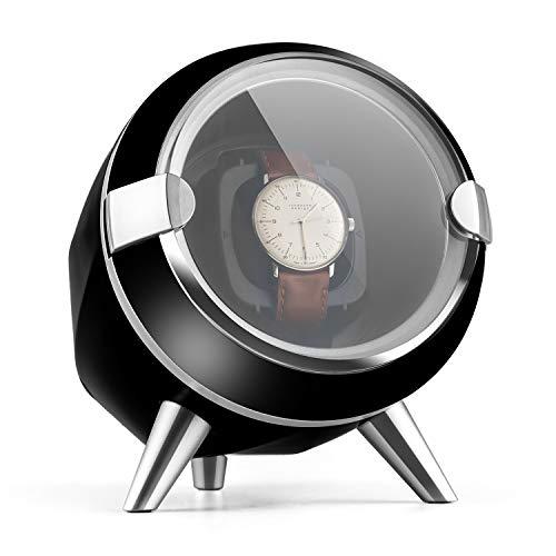 KLARSTEIN Sindelfingen Caja para Relojes (Compacto, Motor silencioso, Amplia Tapa Transparente, 4 programas de rotación, Almohadilla de Terciopelo) - Negro