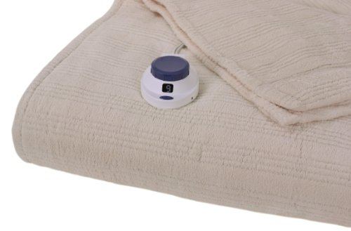 Serta Luxurious Low-Voltage Electric Heated Micro-Plush Triple-Rib King Blanket, Ivory
