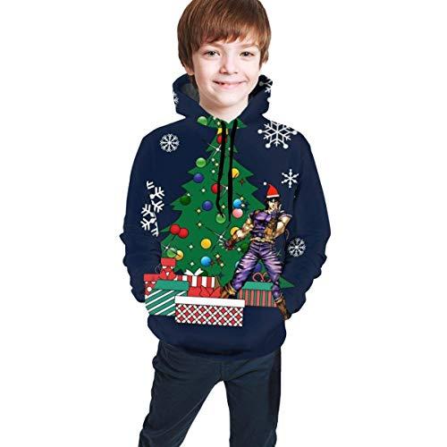shenguang JoJo Bizarr um den Weihnachtsbaum 3D-Druck Pullover Hoodies Kapuzenpullover Sweatshirts für Kinder Teenager Jungen Mädchen