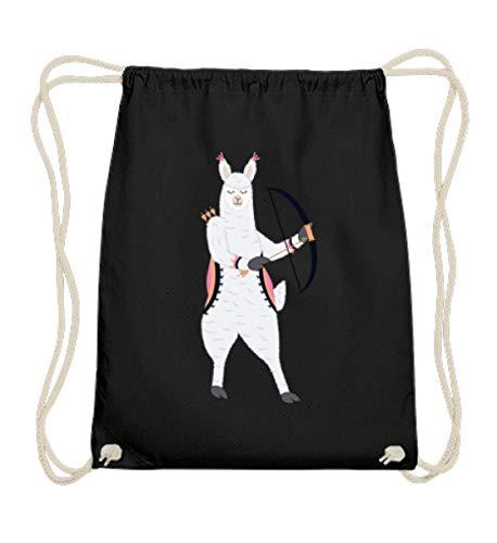 Chorchester Alpaka mit Pfeil und Bogen für Tier Fans - Baumwoll Gymsac -37cm-46cm-Schwarz