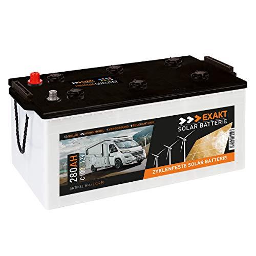 EXAKT Solarbatterie 280Ah 12V Wohnmobil Antrieb Versorgung Boot Mover Photovoltaik Windkraft Batterie (280AH)