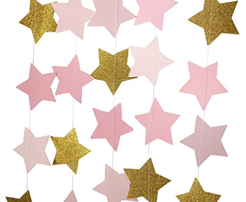 Mybbshower Blush Pink Gold Glitter Star Garlands for Baby Shower Photo Prop 12 Feets Long