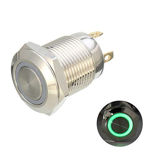 Cylficl. DC 12 V 12 mm 4 pines interruptor momentáneo LED luz botón pulsador impermeable (color: verde)