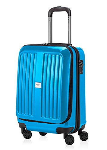 HAUPTSTADTKOFFER - X-Berg - Handgepäck Hartschalenkoffer Koffer Trolley, 55 cm, 42 Liter, TSA, Cyanblau