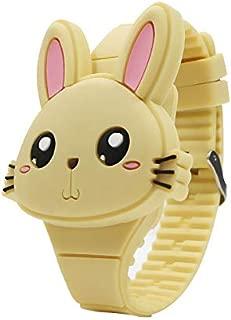 Leorealko Kids Electronic Watch Electronic Watch for Kids Electronic Watch Kids 1 Pcs Kids LED Electronic Watch Silicone Band Cartoon Rabbit Flip Case Wrist Watch Lovely Gift