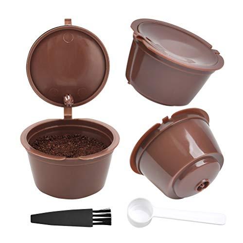 FOROREH 3pcs Wiederverwendbare Kaffeekapsel für Dolce Gusto Machine Kaffeepad Wiederverwendbare Kaffeekapsel mit 1 Plastiklöffel und 1 Reinigungsbürste