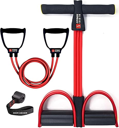 Fitness India™ Tummy Trimmer & Toning Tube with Door Anchor, Home Gym Equipment, Waist Reducer, Pull Reducer - Multicolour