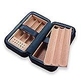 JIAJBG Productos para el Hogar Bandeja de Cedro Extraíbles, Caja de Cigarro de Cuero Portátil con Humidificador, Caja de Alenamiento de Cigarros para 6 Cigarros Negros Regalos para